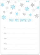 24 Cnt Blue Snowflakes Fill-in Holiday Invitations