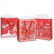 MyGift® Assorted Christmas Holiday Designs Red Paper Gift Bags with Tissues - Assortment of 3