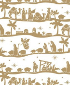 Nativity Gold Gift Wrap Flat Sheet 60cm X 1.8m - Holiday Gift Wrapping Paper