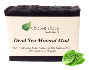 Dead Sea Mud Soap Bar 100% Organic & Natural. With Activated Charcoal & Therapeutic Grade Essential Oils. Face Soap or Body Soap. For Men, Women & Teens. Chemical Free. 120ml Bar.