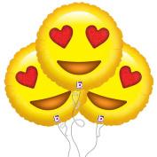 Starstruck Love Emoji Mylar Balloon 3 Pack