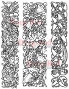 Deep Red Rubber Cling Stamp Ornamental Vines Border Botanical