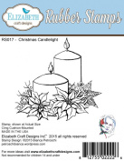 Elizabeth Craft Designs Christmas Candlelight Cling Red Rubber Stamp RS017