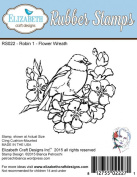 Elizabeth Craft Designs Robin 1 - Flower Wreath Cling Red Rubber Stamp RS022