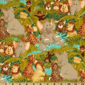 "1/2 Yard - ""Jungle Babies"" Toss Cotton Fabric - by Patty Reed (Great for Quilting, Sewing, Craft Projects, Throw Pillows & More) 1/2 Yard x 110cm"
