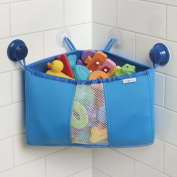 mDesign Corner Baby Toddler and Kids Suction Shower Caddy, Bath Toy Organiser - Blue