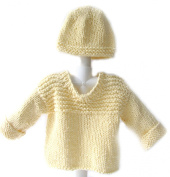 KSS Handmade Yellow Cotton Sweater with a Hat