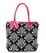 NGIL Hot Pink Black Damask Print Quilted Tote