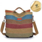 Tiny Chou Women's Canvas Leather Shoulder Bag Handbag Colour Block Striped Large Capacity Tote for Travel