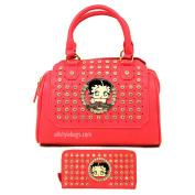 Betty Boop embossed rhinestone wallet shoulder boxer bag set handbag purse