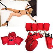 Bed Restraint Wrist and Ankle Cuffs with adjustable straps (Furry) - Red by HappyNHealthy