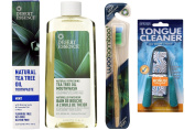 Desert Essence Spearmint Natural Tea Tree Oil Toothpaste and Mouthwash, Dr. Tung's Tongue Cleaner, and WooBamboo Soft Bristle Toothbrush