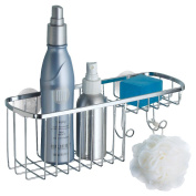 mDesign Stainless Steel Suction Shower Basket & Soap Dish Combo, Chrome Finish