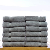 Bare Cotton Luxury Hotel and Spa Towel 100pct Genuine Turkish Cotton Wash Cloth (Set of 12); Grey