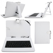 DURAGADGET FRENCH AZERTY White Faux-Leather Case / Cover With Micro USB Keyboard For GoClever Insignia 1010 WIN - Includes BONUS Cleaning Cloth + Stylus Pen!