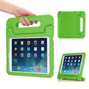 MoKo Apple iPad Air 2 Case - Kids Shock Proof Convertible Handle Light Weight Super Protective Stand Cover Case for Apple iPad Air 2 (iPad 6) 25cm iOS 8 Tablet, GREEN