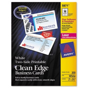 Averyreg; Two-Side Clean Edge Laser Business Cards, 2 x 3 1/2, White, 1,000 per Pack