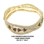 1pc Beautiful Rhinestone Accented Yellow Gold Plated Bangle Bracelet FLBNG15870