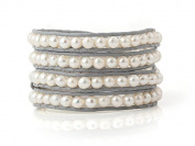 White Freshwater Cultured Pearls Wrap Bracelet Grey Genuine Leather Hand Made Fashion Multilayer Woven Bangle 5-6 mm