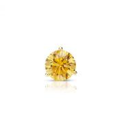 14k Yellow Gold Round Yellow Diamond 3-Prong Martini SINGLE STUD Earring