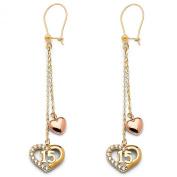 Wellingsale® Ladies 14k Two Tone Gold Polished Fancy 15 Quinceañera Dangle Hanging Drop Earrings