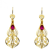 Wellingsale® Ladies 14k Yellow Gold Polished Diamond Cut Fancy Red Chandelier Dangle Hanging Drop Earrings