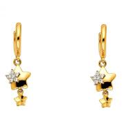 Wellingsale® Ladies 14k Yellow Gold Polished Fancy Huggies Dangle Hanging Drop Star Earrings