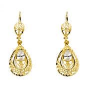 Wellingsale® Ladies 14k Yellow Gold Polished Diamond Cut Fancy Oval Dangle Hanging Drop Earrings