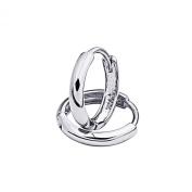 Wellingsale® Ladies 14k White Gold Polished 2mm Huggies Earrings