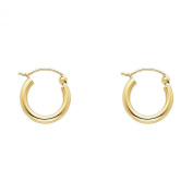 Wellingsale® Ladies 14k Yellow Gold Polished 2mm Hinged Classic Hoop Earrings - 10 Different Size Available