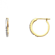 Wellingsale® Ladies 14k Yellow Gold Polished 1mm Huggies Hoop Earrings