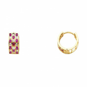 Wellingsale® Ladies 14k Yellow Gold Polished 5mm 3 Line Red CZ Channel-set Hoop Huggies Earrings