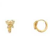 Wellingsale® Ladies 14k Yellow Gold Polished Butterfly CZ Huggies Earrings