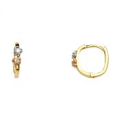 Wellingsale® Ladies 14k Tri 3 Colour Gold Polished 4mm Flower CZ Hoop Huggies Earrings