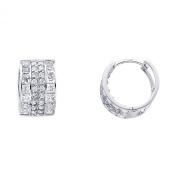 Wellingsale® Ladies 14k White Gold Polished 10mm CZ Hoop Huggies Earrings