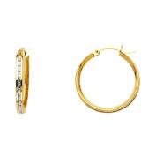 Wellingsale® Ladies 14k Yellow Gold Polished 20mm Channel Set CZ Hoop Earrings