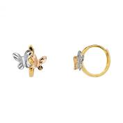 Wellingsale® Ladies 14k Tri 3 Colour Gold Polished Butterfly Huggies Hoop Earrings