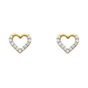 Wellingsale® Ladies 14k Yellow Gold Polished CZ Heart Earrings