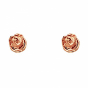 Wellingsale® Ladies 14k Rose Gold Polished Flower Earrings