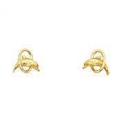 Wellingsale® Ladies 14k Yellow Gold Polished Dolphin Stud Earrings