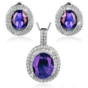 ELYA Sterling Silver Oval Cubic Zirconia Double Halo Earrings and Necklace Set 46cm