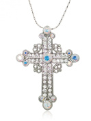 Akianna Silver-tone Clear. Element Crystals Celtic Cross Pendant Necklace