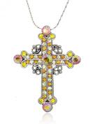 Akianna Silver-tone. Element Crystals Celtic Cross Pendant Necklace