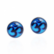 Petite Blue Aum/Om Prayer Sign .925 Silver Earrings