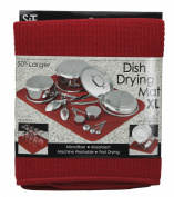 S & T 440500 Microfiber Dish Drying Mat, X-Large, 46cm by 60cm , Racer Red