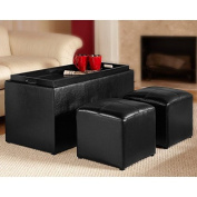 Sheridan Espresso Leather 3PC Double Storage Ottoman with Tray Plus 2 Side Ottomans