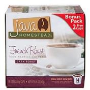 French Roast, Dark Roast Coffee, 14 Single Serve Cup Pods by Java Homestead