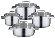 ELO Premium Multilayer Stainless Steel 8-Piece Cookware Set with Heat-Resistant Plastic Handles, Easy-Pour Rim, Integrated Measuring Scale, and Induction Hob Ready - Saves Energy By Conducting The Heat Rapidly Throughout The Entire Pot