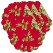 April Cornell Quilted Red Holly 43cm Round Shaped Placemats, Set of 4