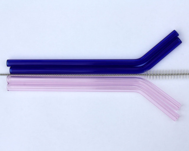 Pink and Blue Bent Glass Straws for Pint Mason Jars and Similar Glasses, 4 Pack + Cleaning Brush
